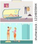 tanning in solarium and... | Shutterstock .eps vector #1214835844