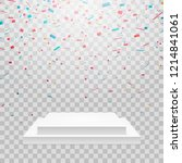 white podium with colorful... | Shutterstock .eps vector #1214841061