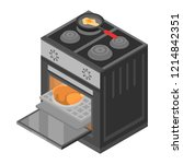 cooker stove icon. isometric of ... | Shutterstock .eps vector #1214842351