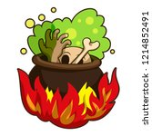 boiling on fire cauldron icon.... | Shutterstock .eps vector #1214852491