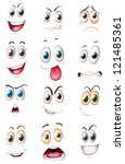 illustration of faces on a... | Shutterstock . vector #121485361