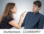 jealousy hysterical wife is... | Shutterstock . vector #1214856997