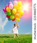 happy little girl holding... | Shutterstock . vector #1214860771
