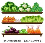 set of organic vegetable... | Shutterstock .eps vector #1214869951