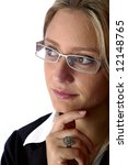 attractive Business woman wear glasses and looking away - stock photo