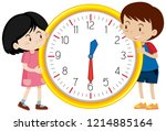 cute children clock template... | Shutterstock .eps vector #1214885164