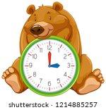 cartoon bear on clock template... | Shutterstock .eps vector #1214885257