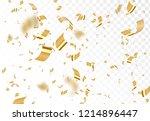 falling shiny golden confetti... | Shutterstock .eps vector #1214896447