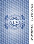 calves blue hexagon emblem. | Shutterstock .eps vector #1214900431