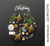 christmas greeting card with... | Shutterstock .eps vector #1214915791