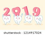 cartoon tooth hold 2019 on the... | Shutterstock .eps vector #1214917024