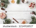 christmas gift boxes on white... | Shutterstock . vector #1214918527