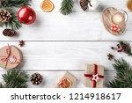 christmas gift boxes on white... | Shutterstock . vector #1214918617