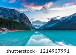 sunset at lake louise  rocky... | Shutterstock . vector #1214937991