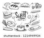 set of drawings bakery theme.... | Shutterstock .eps vector #1214949934