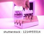 circuit breakers on the... | Shutterstock . vector #1214955514