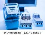 circuit breakers on the... | Shutterstock . vector #1214955517
