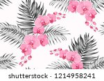 bright pink purple orchid... | Shutterstock .eps vector #1214958241
