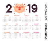 calendar for 2019. colored... | Shutterstock .eps vector #1214962924