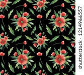 seamless pattern with red poppy ... | Shutterstock . vector #1214966557