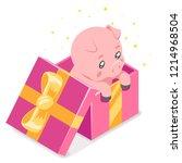 isometric 3d cute cartoon baby... | Shutterstock .eps vector #1214968504