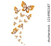 Stock vector beautiful yellow butterflies isolated on a white 1214982187