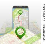 city map route navigation... | Shutterstock .eps vector #1214985217