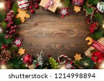 frame with  fir branches ... | Shutterstock . vector #1214998894
