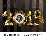 gold steampunk numbers 2019... | Shutterstock .eps vector #1214999647