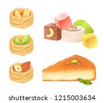 oriental desserts isolated on... | Shutterstock .eps vector #1215003634