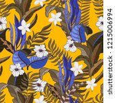 trendy fabric tropical seamless ... | Shutterstock .eps vector #1215006994