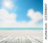 blue seascape under clouds sky. ... | Shutterstock . vector #1215008047