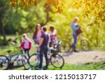 happy family with bicycles... | Shutterstock . vector #1215013717