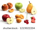 cutted fruits realistic set... | Shutterstock .eps vector #1215022204