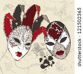 hand drawn venetian  carnival... | Shutterstock .eps vector #121502365