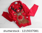 warm christmas sweater on white ... | Shutterstock . vector #1215037081
