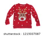 warm christmas sweater on white ... | Shutterstock . vector #1215037087