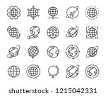 set of world map vector line... | Shutterstock .eps vector #1215042331
