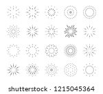firework line icon set  happy... | Shutterstock .eps vector #1215045364