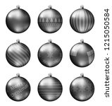 black christmas balls isolated... | Shutterstock .eps vector #1215050584