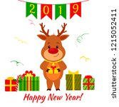 happy new year and merry... | Shutterstock .eps vector #1215052411