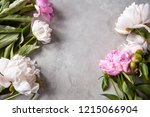 natural frame of white and pink ... | Shutterstock . vector #1215066904
