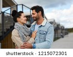 happy beautiful young couple in ... | Shutterstock . vector #1215072301