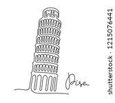 leaning tower of pisa... | Shutterstock .eps vector #1215076441