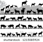 silhouettes of bighorn sheeps ... | Shutterstock .eps vector #1215085924