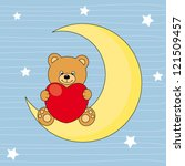 bear sitting on the moon with a ... | Shutterstock .eps vector #121509457