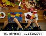 children  applying leaves using ... | Shutterstock . vector #1215102094