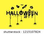 happy halloween text banner.... | Shutterstock .eps vector #1215107824
