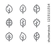 leaf line icons  vector leaves... | Shutterstock .eps vector #1215111514