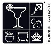 set of 6 celebration outline... | Shutterstock .eps vector #1215119764